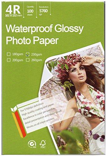 Papel fotográfico brillante de gran calidad para impresoras de inyección de tinta, 10 x 15 cm, tamaño 4R, 100 hojas de peso 230...