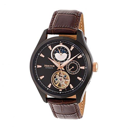 Heritor Sebastian Herren-Armbanduhr, Automatik, braun, echtes Leder, Schwarz, mit Datum, HERHR6906