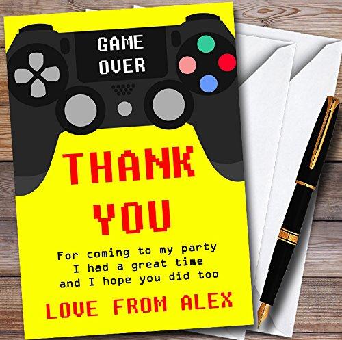 10 x Uitnodigingen Geel Spel Op Video Gaming Kinderen Verjaardag Party Dank U Kaarten