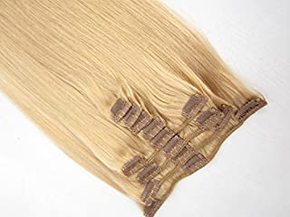 SINA Virgin Brazilian Human Hair Weaves Straight 20 inches Clip In Hair Extensions Real Hair #24 Medium Blonde Natural Hair 9pcs/Set 100% Brazilian Straight