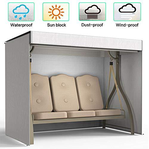 willkey Hollywoodschaukel Schutzhülle Abdeckung 3 Sitzer Wasserdicht, Winddicht, UV-Beständiges 190T Abdeckung für Gartenschaukel 220x125x170cm (Grau)