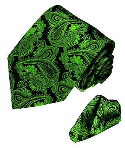 Lorenzo Cana Lorenzo Cana - grün schwarze Marken Krawatte aus 100% Seide mit passendem Eintstecktuch mit Paisleymuster - 7714501