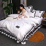 funda de edredón para cama individual,Conjunto de tapa de edredón 4 PCS Conjuntos de ropa de cama suave por colcha de algodón de poliéster con 2 piezas de almohada de funda de almohada fácil / cama d