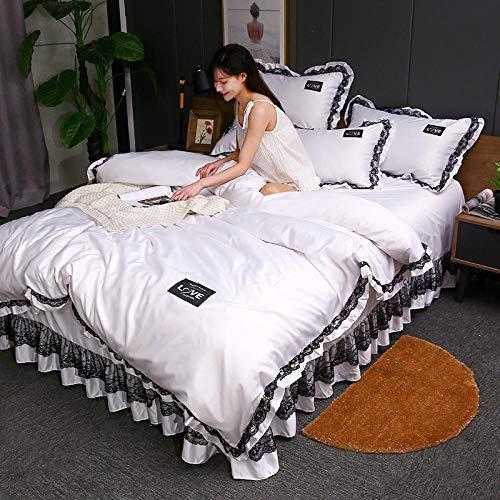 Bedding-LZ Juegos de sábanas 150,Falda de Cama de Seda de Hielo de Doble Cara, sábana de edredón de Verano Tencel para Dormir Desnudo Sedoso de Cuatro Piezas-A_Cama de 2,0 m (4 Piezas)