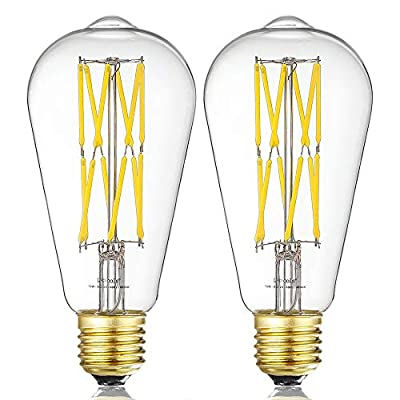 Leools LED Edison Bulb 10W Dimmable 4000K Neutral White 1200LM, 100W Equivalent E26 Medium Base, ST64 Vintage LED Filament Bulbs, 360 Degrees Beam Angle, Pack of 2