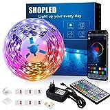 Led Strip 6M, SHOPLED Bluetooth Music Sync SMD 5050 RGB Led Streifen mit App Steuerung, 44 Tasten Fernbedienung für Schlafzimmer, Küche, TV, Party, Zimmer Deko