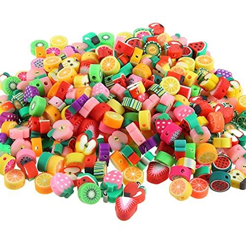 siqiwl Cuentas de Arcilla para Hacer Joyas, 100pcs Beads de Frutas Suave cerámica Arcilla Espaciador Pulsera Bricolaje Collar de hallazgos de joyería Artesanal (Color : Mixed 1)