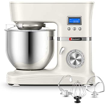 Hauswirt Stand Mixer, Food Mixer, 5L Stainless Steel Mixing Bowl, 8 Speed -1000W Electric Kitchen Mixer with Dough Hook, Whisk & Beater - LCD Display, Planetary Mixing System