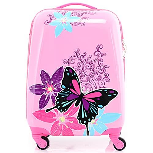 BONTOUR Valigia Per Bambini Bagaglio a Mano con Ruote Girevoli a 360 ° (La farfalla)