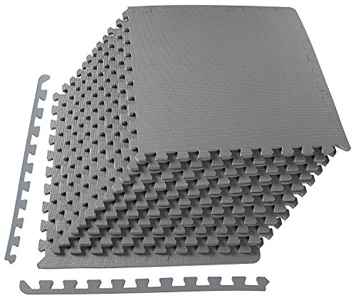 BalanceFrom Puzzle Exercise Mat with EVA Foam Interlocking Tiles, Grey