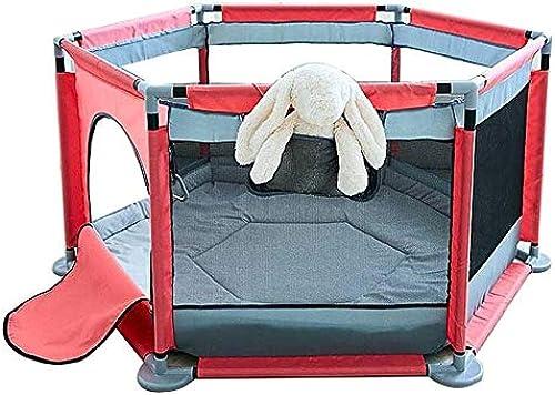 YOUXD Spiel-Zaun Größes tragbares Babyspiel, Kindersicherheitsspiel-Center-Hof, Hauptinnenzaun, einfach, 140x65cm zusammenzubauen (Farbe   Rot)