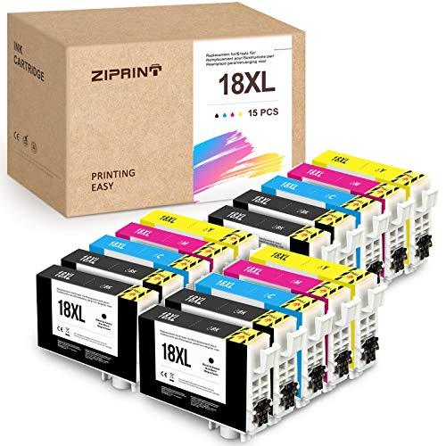 15 Pack Ziprint 18XL Cartuchos de tinta compatibles con Epson Epson 18XL T18XL con Epson XP-425, XP-422, XP-415, XP-412, XP-325, XP-305, XP-322, XP-315, XP-302, XP-402, XP-215, XP-205, XP-225
