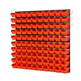 100 Stapelboxen Rot mit wandregal 80 x 80 cm | boxen lager wandplatten wandpaneel werkstatt garage