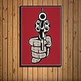 zpbzambm Cuadro En Lienzo 50X70Cm Sin Marco,Arte Pop Art Roy Lichtenstein Finger Gun Art Seda Pintura sobre Lienzo Cartel De La Pared Decoración para El Hogar Zp-691