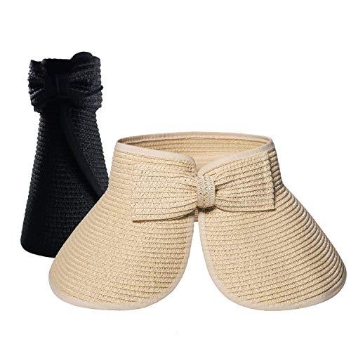 Cappello Paglia Donna da Sole in Spiaggia Arrotolato Visiera Estate Cappuccio di Protezione Solare - Confezione da 2