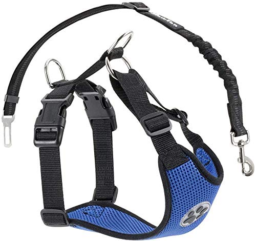 Jihan Dog Harness with Safety Strap, Double Air-Permeable Latex Mesh Harness, Regular Travel Vest, Car Safety Belt for All Everyday and Sporting Activities with Your Four-Legged Friend