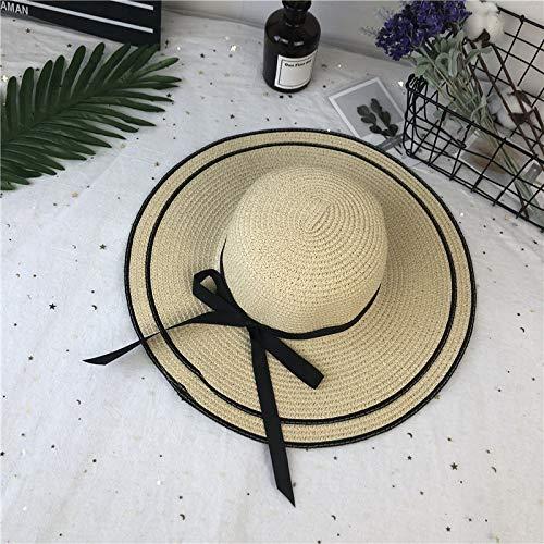 mlpnko Mädchen Strand Sonnenschirm Hut Eltern-Kind-Mütze Mutter und Tochter großen Hut Mütze Kinder Strohhut beige Kinderhut um 52cm