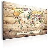 murando - Mapamundi con Tablero para Clavar chinchetas 90x60 cm - Cuadro en Lienzo sintético - 1 Parte - Panel de Fibra - Mapa del Mundo Continente - - Viajes geografia Vintage k-C-0077-v-a