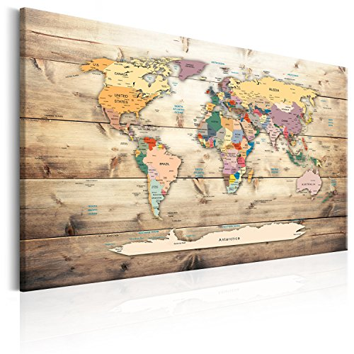 murando - Mapamundi con Tablero para Clavar chinchetas 120x80 cm - Cuadro en Lienzo sintético - 1 Parte - Panel de Fibra - Mapa del Mundo Continente - - Viajes geografia Vintage k-C-0077-v-a