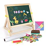 Beebeerun Kids Wooden Tabletop Easel with Paper Roll,Double-Sided Whiteboard & Chalkboard Tabletop Easel