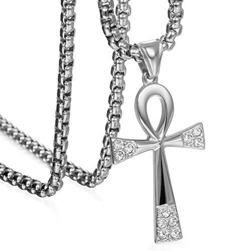 JewelryWe Schmuck Partneranhänger Partnerkette Edelstahl Strass Ägyptische Ankh Kreuz Amulett Anhänger mit 55cm Kette Halskette für Damen Silber