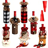 7 Pieces Christmas Wine Bottle Cover Wine Bottle Holder Sweater Faux Fur Wine Bottle Pouch Bags Santa Clause, Snowman, Reindeer Drawstring Bags and 2 Silicone Bottle Stoppers for Christmas Party Decor