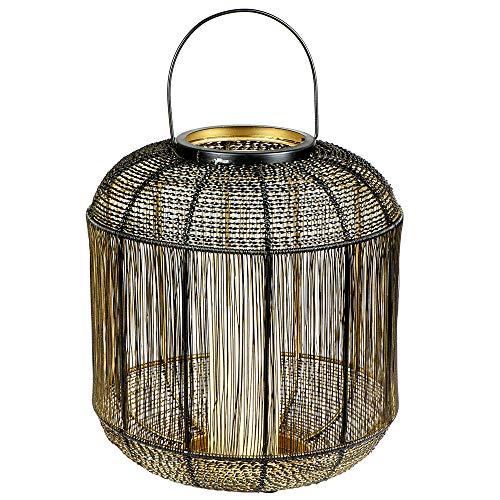 Formano Deko-Windlicht aus Draht und Metall, 30 cm, 1 Stück, Schwarz-Gold