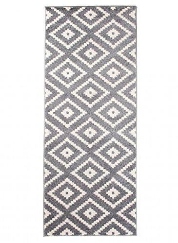 Carpeto Läufer Teppich Modern Grau 80 x 250 cm Geometrische Muster Kurzflor Furuvik Kollektion