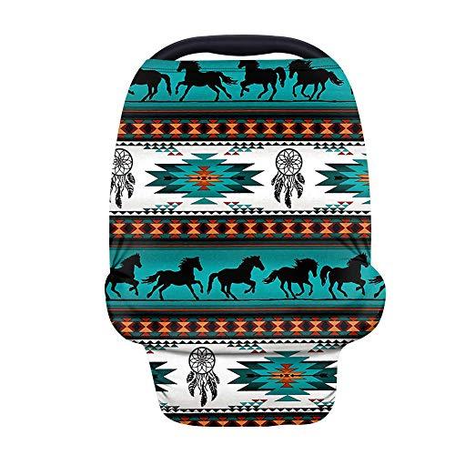 Binienty Funda para asiento de coche con estampado tribal de caballo de Baja para bebés, transpirable, toldo para asiento de coche, estilo azteca