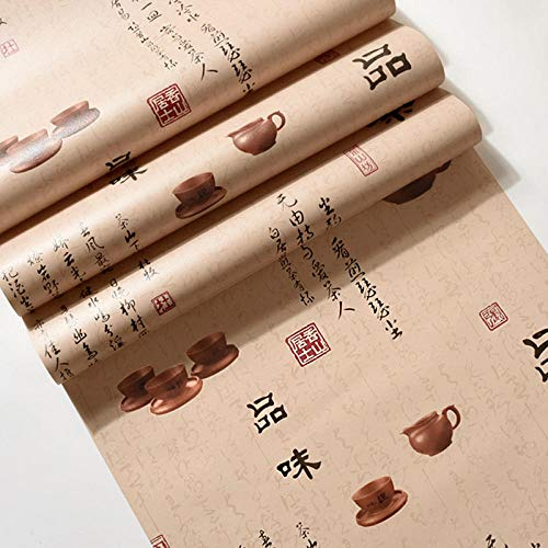 Klassieke Chinese Stijl Behang Retro Nostalgische Smaak theepot Behang Thee Woonkamer Restaurant Tea Shop Hotel Wallpaper Geel