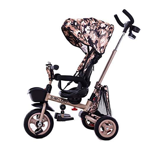 Cochecito de bebé Triciclo para niños de 1 a 5 años de edad, cochecito descapotable, cochecito de lujo con portavasos Carrito de bebe (Color : Multi-colored)