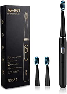 Sonic Rechargeable Electric Toothbrush with 3 Replacement Brush Heads,2 Minutes Timer &4 Brushing Modes,Electronic Power,S...