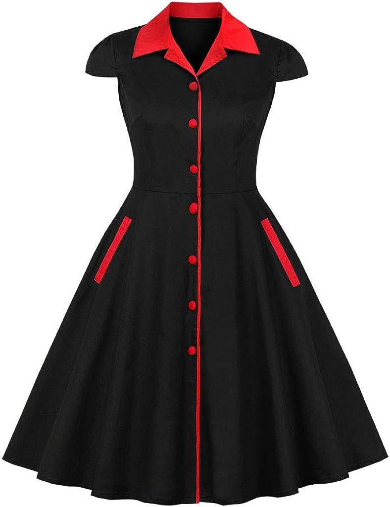 Wellwits Women's Cap Sleeve Button Down Pocket Collared Vintage Work Dress