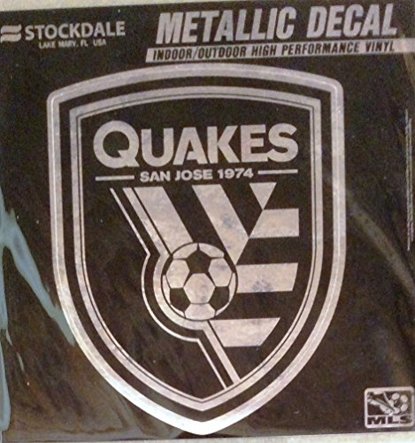 "San Jose Earthquakes Quakes 6"" Silver Metallic Style Vinyl Auto Decal MLS Soccer Club"