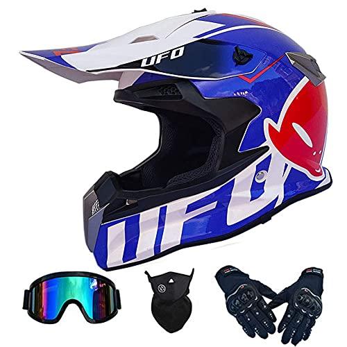 lzdasczz Casco Integral de Motocross Cascos de Motocicleta para Adultos DH Moto Rally Backflip Casco para ATV MX MTB Dirt Bikes Off-Road Mountain Pit Bike · Certificado Dot (Nave Espacial
