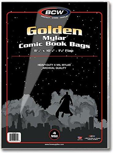 BCW Comic bolsas 4Mil de tereftalato de polietileno de oro–(caso de paquetes de 10) archivo Comics Recopilación Supplies