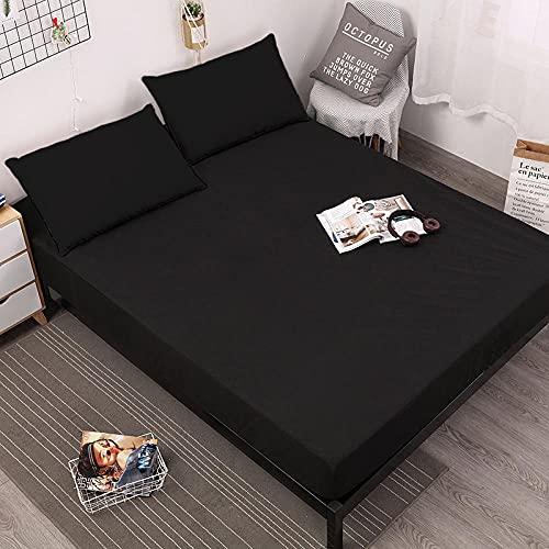 XGguo Protector de colchón Transpirable.Rizo Bambú. Paquete Completo de Mojado de Cama de diafragma de sábana Impermeable-Negro_180X200 + 30CM