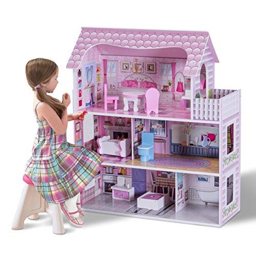 Costway - Casa de muñecas de madera, 3 pisos, casa de sueños con accesorios, incluida cocina, dormitorio, cuarto de baño, balcón, etc.