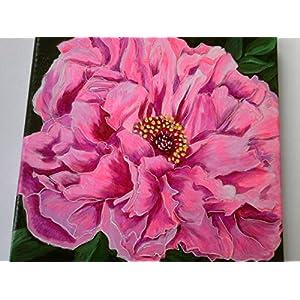 *Pfingstrose* handgemalt, Original, 30 x 30 cm