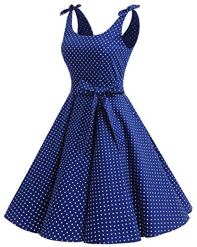 Bbonlinedress 1950er Vintage Polka Dots Pinup Retro Rockabilly Kleid Cocktailkleider Blue White Dot XL - 2