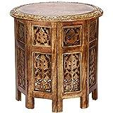 Marokkanischer Tisch Beistelltisch aus Holz Ashkar Braun ø 45cm groß rund | Orientalischer runder Hocker Blumenhocker orientalisch klein | Orientalische runde kleine Beistelltische...