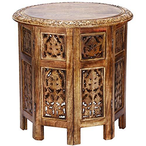 Marrakesch Orient & Mediterran Interior Mesa marroquí, Consola Auxiliar de Madera Ashkar Marrón 45cm Redonda - Mostrador de té Oriental - Bandeja Plegable es Oriental en marrón, como Mesa de luz 🔥