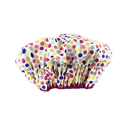 Betty Dain Fashionista Collection Mold Resistant Lined Shower Cap, Waterproof Exterior, PEVA Lining, Mold and Mildew Resistant, Oversized Design for All Hair Lengths, Elasticized Hem, Deco Dots