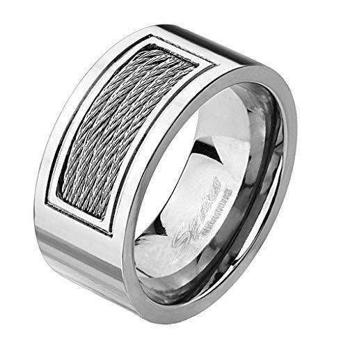 Paula & Fritz® Titan Ring Silber 10 mm breit Eingelassene verdrahtete Kabel 61.