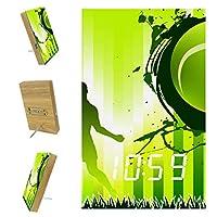 ベッドルーム用デジタル目覚まし時計キッチンオフィス3アラーム設定ラジオウッドデスククロック-球技テニススポーツ