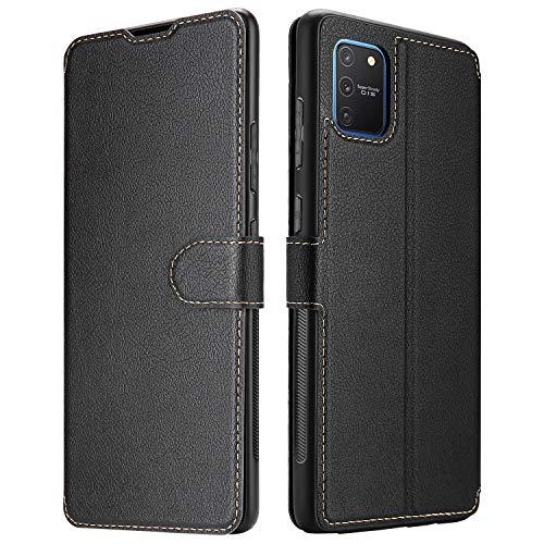ELESNOW Hülle für Samsung Galaxy S10 Lite, Premium Leder Klappbar Schutzhülle Tasche Handyhülle mit [ Magnetisch, Kartenfach, Standfunktion ] für Samsung Galaxy S10 Lite (Schwarz)