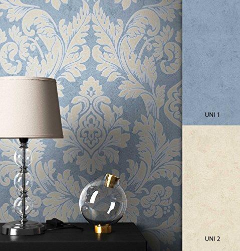NEWROOM Barocktapete Tapete Blau Barock Vliestapete Vlies moderne Design Optik Barocktapete Glamour inkl. Tapezier Ratgeber