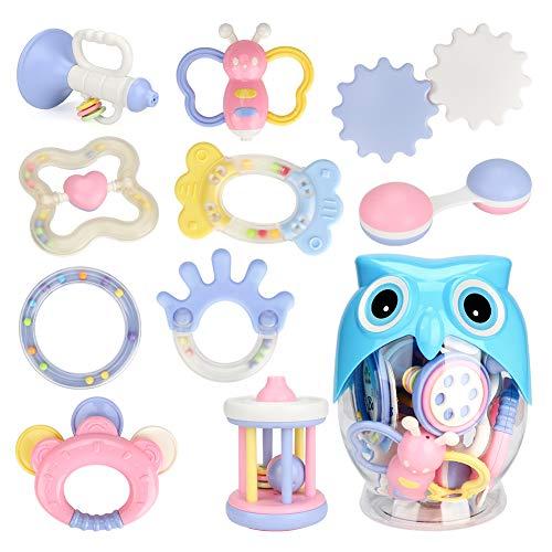 Zwini Juguete de dentición y sonajero Infantil Set de 10 PCS Shaker Grab Rattle Juguetes educativos tempranos para bebés Recién Nacidos Anillo con Botella de búho bebés
