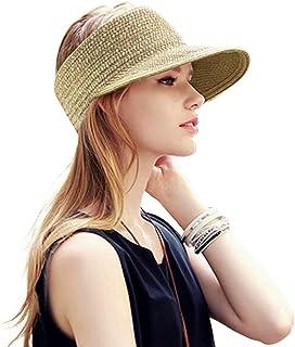 قبعة شمس شاطئ مرنة قابلة للطي ذات حافة واسعة من القش قبعة الصيف للنساء والفتيات