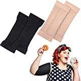 2 Pairs Arm Shapers for Plus Size Women, Upper Arm Sleeves Slimming Arm Wraps Slim Arm Compression Sleeve for Flabby Arms Tone Shape Suitable for Arm Circumference 7-16 Inches (Black, Beige, L)
